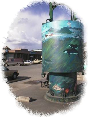 This buoy with the Landmark Mural on it marks the entrance to the parking lot by the Ganges Public Dock and is also right beside Centennial Park.